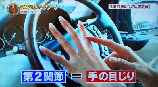 関節を曲げて第二関節を手の目じりと呼んでいます